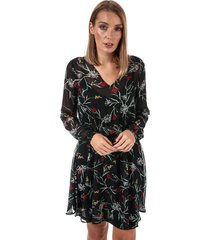 vero moda becca v-neck floral dress size 14 in black