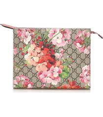 gucci gg blooms cosmetic pouch brown, beige, multi sz: m
