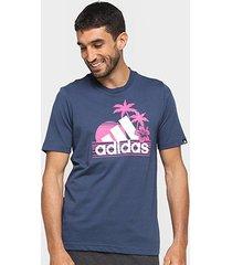 camiseta adidas estampada praia masculina - masculino