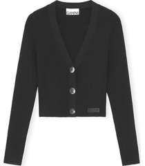 ganni melange knit crop cardigan, size medium in black at nordstrom