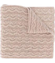 agnona cashmere cable knit scarf - neutrals