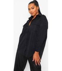 plus oversized blouse met zak, zwart