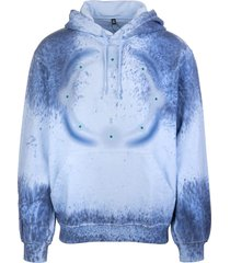 mcq alexander mcqueen man light blue hoodie with blue tie-dye print