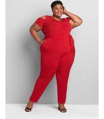lane bryant women's knit kit cold-shoulder jumpsuit 14/16 cherry wine