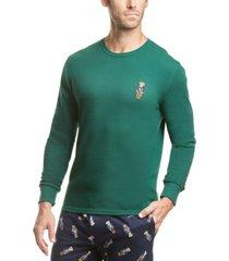 polo ralph lauren men's polo bear waffle-knit pajama shirt