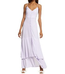 afrm nella print sleeveless maxi dress, size small in lilac gingham at nordstrom