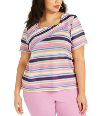 alfred dunner plus size petal pushers square-neck top