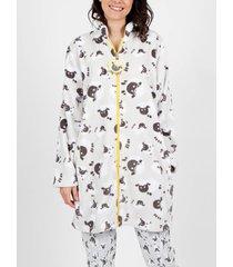 pyjama's / nachthemden admas borreguito grijs loungejack
