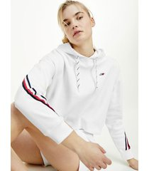 tommy hilfiger women's relaxed fit organic cotton hoodie th optic white - xl