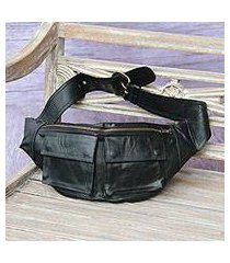 leather waist bag, 'uncharted' (indonesia)