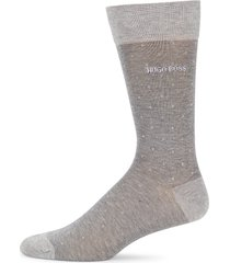 boss hugo boss men's peter dotted crew socks - silver