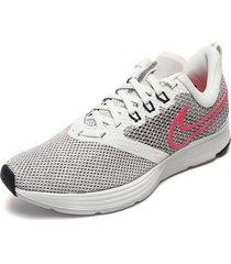 tenis running blanco-negro-fucsia nike zoom strike