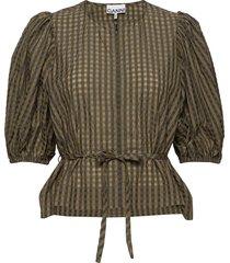 seersucker check blouse lange mouwen groen ganni