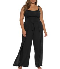 plus size women's becca etc. globe trotter cover-up pants, size 0x - black