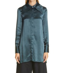 women's co crinkle satin jacket, size x-small - blue/green