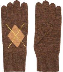 burberry argyle-intarsia knit gloves - brown