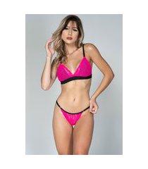 conjunto feminino lingerie neon serra e mar modas com renda pink