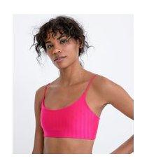 top esportivo com bojo em poliamida com alça fina rolotê texturizado | get over | rosa | gg