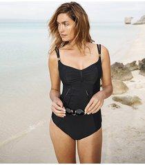 anya riva black balconnet one-piece swimsuit