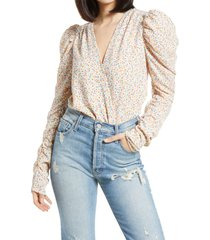 afrm danna puff sleeve bodysuit, size x-large in blush spring disty at nordstrom