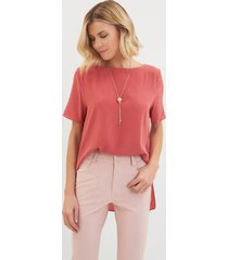 blusa le lis blanc mica 6 seda rosa feminina (hot pink 18-1633tcx, gg)