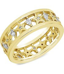 sterling forever women's goldplated & cubic zirconia cutout continuous star ring/size 7 - size 7