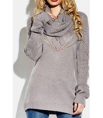camicetta maglione a due pezzi lavorato a maglia con bottoni tinta unita