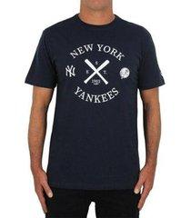 camiseta new era mlb new york yankees cinza mescla - masculino