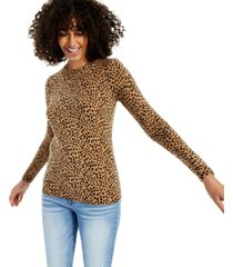 cashmere animal print long-sleeve crewneck sweater, created for macy's