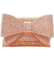 glitter bow patent clutch evening shoulder bag (rose gold)