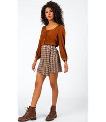scarletta plaid mini skirt - sand