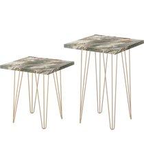 conjunto 02 mesa lateral quadrada petra pés de ferro dourado  d'rossi cinza