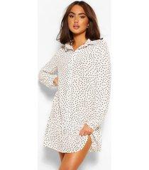gesmokte blouse jurk met stippen, wit