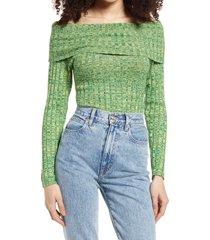 women's afrm turtleneck bodysuit, size x-large - green