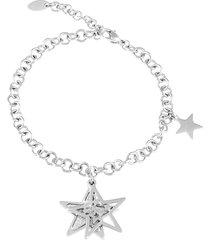 bracciale stella in acciaio rodiato e lurex per donna