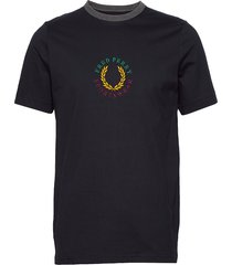 branded t-shirt t-shirts short-sleeved blå fred perry