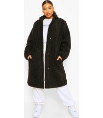 plus halflange faux fur teddy duster jas, black