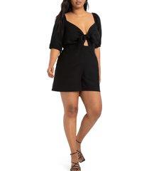 plus size women's eloquii tie bodice elbow-sleeve stretch twill romper, size 28w - black