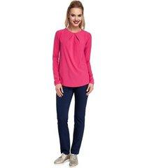 blouse moe m307 zijden blouse met plooien vooraan - roze