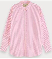 scotch & soda oversized blouse van katoenen poplin