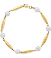 cultured freshwater pearl (6mm) & polished bar bracelet in 14k gold