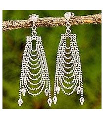 sterling silver chandelier earrings, 'silver gowns' (thailand)