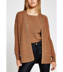 river island womens brown chain embellished cardigan