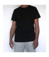 camiseta básica algodão preta t-shirt mescla respirável e funcional