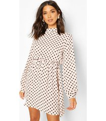 high neck polka dot skater dress, nude