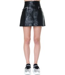 miu miu black leather mini skirt