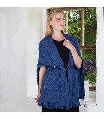 merino wool pocket shawl blue