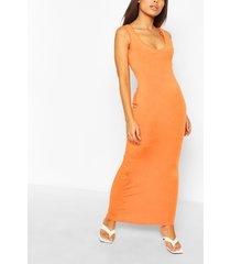petite basic maxi dress, orange