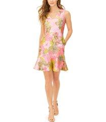 natori peony printed jacquard flounce dress