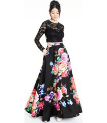 b darlin juniors' 2-pc. lace & floral-print gown